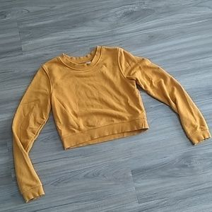 H&M mustard terry crop sweatshirt
